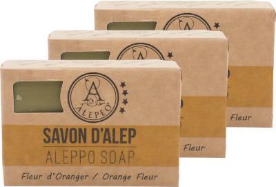 ALEPEO Aleppo Olivenölseife mit Orangenblütenduft 100 g 3er Pack
