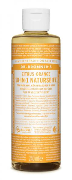 Dr Bronners 18 IN 1 Naturseife Zitrus Orange 240 ml