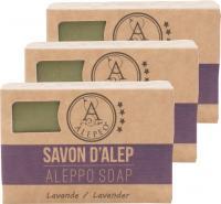 ALEPEO Aleppo Olivenölseife mit Lavendelduft 100 g 3er Pack