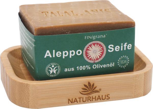 NATURHAUS Set 1 Bambus Seifenschale u. Olivenölseife