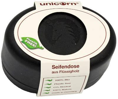 unicorn Seifendose aus Flüssigholz klein schwarz